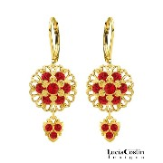 Lucia Costin Lever Back Dangle Flower Earrings Made of 24K Yellow Gold Plated over .925 Sterling...