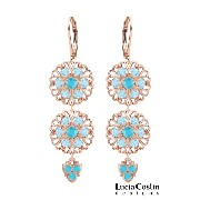 Attention-Grabbing Chandelier Earrings Designed by Lucia Costin with Lacework Details, Aquamarine...