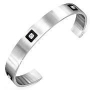 [cpa][c:0][b:8][s:0.16]Stainless Steel Black Silver-Tone White CZ Open End Womens Cuff Bangle Bracelet