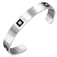 Stainless Steel Black Silver-Tone White CZ Open End Womens Cuff Bangle Bracelet