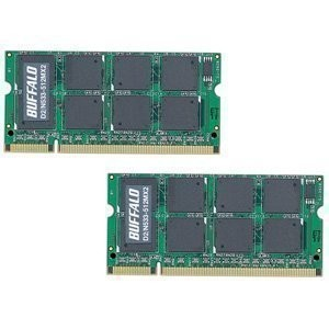 BUFFALO DDR2 533MHz SDRAM(PC2-4200) 200Pin S.O.DIMM 512MB 2枚組 D2/N533-512MX2