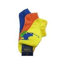 (ラルフ ローレン)RALPH LAULEN Low-Profile Sock 3-Pack YELLOW/ORANGE/ROYAL ロー ソックス 14240 [並行輸入品]