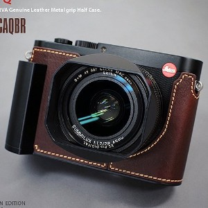 LIM'S ライカ カメラ ハーフケース Metal Grip Genuine Leather Camera Half Case LE-HCLCAQBR (Brown) for Leica Q...