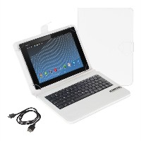 kwmobile QWERTY (英語フォーマット) キーボード付きカバーSony Xperia Tablet Z2用 スタンド付き - フェイクレザー タブレット 保護ケース 白色