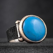 Turkish Men's Ring - GREEK DESIGN - Turquoise Stone - 925 Sterling Silver - HandMade in TURKEY