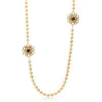 [アイシャーヤ] Isharya blue lapis icon pearl long necklace: blue lapis, golden pearl, 18k gold plated...