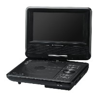 GREEN HOUSE 単3形乾電池対応 7型ワイド液晶搭載ポータブルDVDプレーヤー (車載用ヘッドレスト取り付けキット付属) 黒 GH-PDV7Y-BK