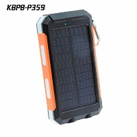 Waterproof solar power bank with Double LED (黒・オレンジ・白) [並行輸入品]