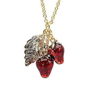 Barzaz イチゴのネックレス いちご 苺 ネックレス ストロベリー strawberry necklace accessory ladies red