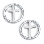 925 Sterling Silver Tiny Circle of Life with Cross Earrings