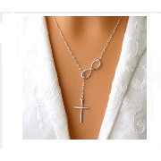 Silver Plated Moon Pendant Necklace For Women (Eight Cross)