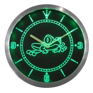 LEDネオンクロック 壁掛け時計 nc0336-g Frog Kid Room Display D?cor Bar Beer Neon Sign LED Wall Clock
