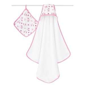 aden + anais (エイデンアンドアネイ) 【日本正規品】 NEWフード付きテリータオルとウォッシュクロスセット princess posie hooded terry towel &...