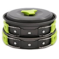 Camping Cookware Mess Kit Backpacking Gear & Hiking Outdoors Cooking Equipment 10 Piece Cookset |...
