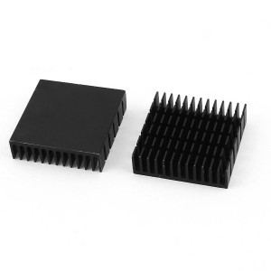 uxcell ヒートシンク ブラック アルミ クーラー 冷却 ファン 40mmx40mmx11mm MOSFET IC用 2個