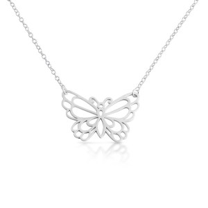 925 Sterling Silver Open Outlined Monarch Butterfly Pendant Necklace (18 Inches)