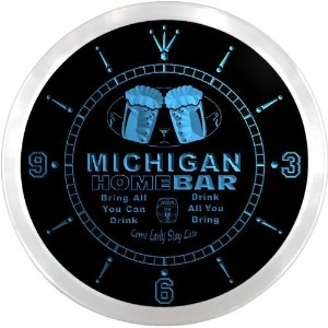 LEDネオンクロック 壁掛け時計 ncp2022-b MICHIGAN Home Bar Beer Pub LED Neon Sign Wall Clock