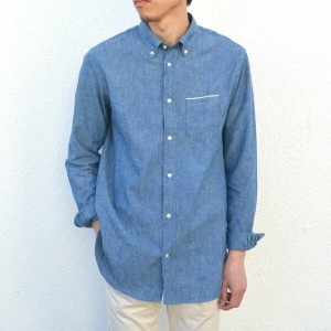 Officine Generale(オフィシンジェネラール)/ Button Down Japanese Chambray Selvedge -BLUE-