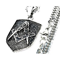[ZIG's]迫り出すSYMBOL,魅せるMATTE-SILVER FREEMASON,PENDANT-NECKLACE W-喜平STAINLESS-CHAIN 特製クロス (fmnsu06si...
