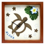 K-Art.Japan 壁掛け時計 Hawaiian Clock Honu Flower ブラウン レッド DC-1810