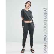 One Day Petite 小さいサイズ Metallic Ribbed Track Pant With Cutout Knee