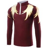 Central Eleven Wing Print Half Zip Up T-Shirt (S, BURGUNDY)