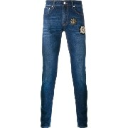 Alexander McQueen patch embellished skinny jeans