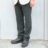 FRANK LEDER(フランクリーダー)/ DARK GREEN NEP WOOL TROUSER -GREEN-