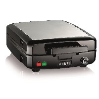 KRUPS GQ502D Adjustable Temperature Belgian Waffle Maker with Removable Plates, 4-Slice, Silver and...
