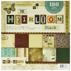"Die Cuts with a View(DCWV) 12""x12"" ペーパースタック The Heirloom (180枚入)"
