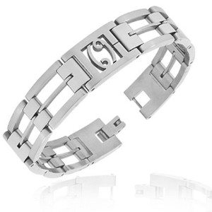 Stainless Steel Silver-Tone Link Chain Zodiac Sign Cancer Mens Bracelet with Clasp