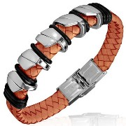 Stainless Steel Silver-Tone Light Brown Orange Faux PU Braided Leather Mens Bracelet