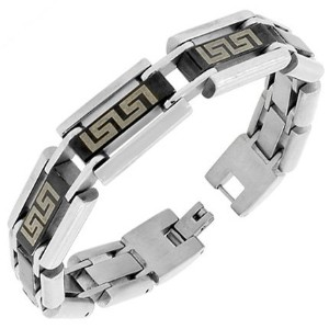 Stainless Steel Silver Black Two-Tone Greek Key Link Chain Mens Bracelet with Clasp