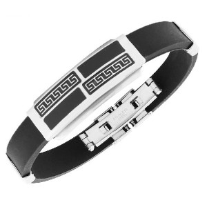 Stainless Steel Black Rubber Silicone Silver-Tone Greek Key Mens Bracelet