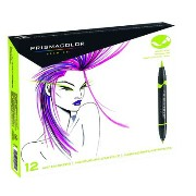 Prismacolor プリズマカラー ダブルエンド アートマーカー 細/ブラシ 12色 Premier Double-Ended Art Markers, Fine and Brush Tip,...