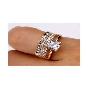 18K Gold Plated Bridal AAA Cubic Zirconia Double Rings Set for women(Size-JP-14)