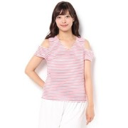 CECIL McBEE(セシルマクビー)肩開きVネック細ボーダーTOPS312540966【セシルマクビー/CECIL McBEE Tシャツ・カットソー】