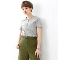 REMI RELIEF×Ray BEAMS / 別注 ヘンリー ポケット Tシャツ グレー【ビームス ウィメン/BEAMS WOMEN Tシャツ・カットソー】