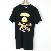 AAPE BY A BATHING APE エーエイプバイアベイシングエイプ プリントTシャツ ブラック XS【中古】