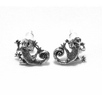 【Cold I's】Tree Monitor Pierced Earrings トカゲシルバーピアス