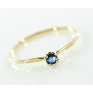 K18 Blue Sapphire Fine Ring リング 華奢 レディース 指輪 重ね着け ピンキー細身 結婚式 プレゼント ギフト 日本製 送料無料