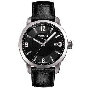 ティソ 腕時計 メンズ 時計 Tissot Mens PRC 200 Black Leather Strap Watch
