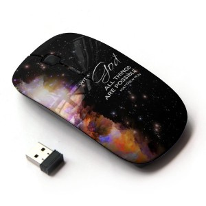 KOOLmouse [ ワイヤレスマウス 2.4Ghz 無線光学式マウス ] [ BIBLE VERSE MATTHEW 19:26 WITH GOD ALL THINGS ARE POSSIBLE...
