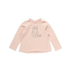 【3can4on(Kids) (サンカンシオン)】ネコイラスト×リボンカットソーキッズ トップス|カットソー・Tシャツ ピンク系