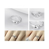 Double Dolphin 925 Adjustable Silver Plated Ring For Women (Resizable)