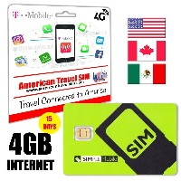 4GB DATA - Prepaid SIM card with 4G/LTE Internet, USA Calls & International Texts / SMS - works in...