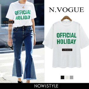 N.Vogue(エヌヴォーグ)OFFICIAL HOLIDAY Tシャツ【2/14up_mo】【メール便120円】韓国 韓国ファッション トップス Tシャツ 半袖 クルーネック ロゴ プリント...
