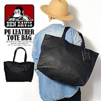 (ベンデイビス)BEN DAVIS公式 PU LEATHER TOTE BAG BLACK FREE