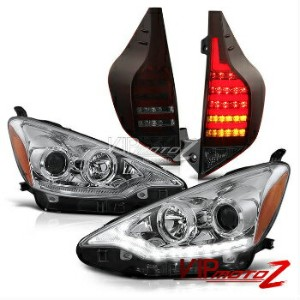 "トヨタ アクア ヘッドライト 2012-2014 Toyota Aqua NHP10 Prius C ""WAVEY LED"" Headlight Red Smoke Tail Lights 2012..."