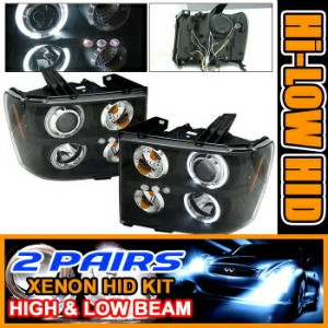 GMC Sierra ヘッドライト 2Set HID 07-08 GMC Sierra CCFL Halo Projector Headlight 2SET HID 07-08 GMCシエラCCFLヘ...